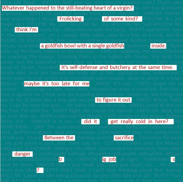 Blackout poems found in shooting scripts - Chapter 8