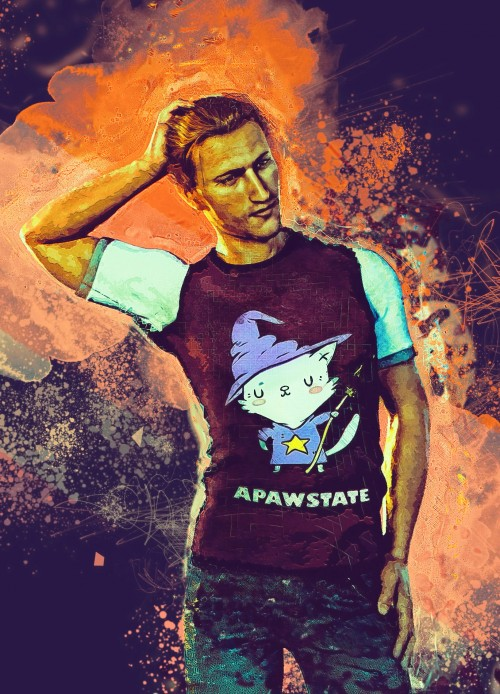"Anders in the ""Apawstate"" T-shirt. Fanart for the fic ""Tainted Love"": https://archiveofourown.org/works/13377243"